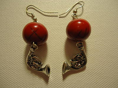 Red Rocker French Horn Earrings Poster by Jenna Green