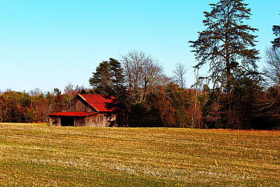 Red Roof Tobacco Barn Poster