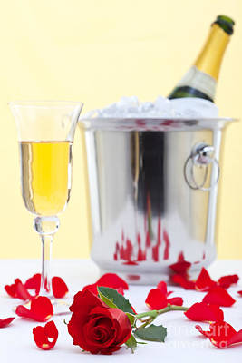 Red Rose And Champagne Poster