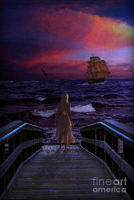 Red Sails In The Sunset Poster by Lianne Schneider
