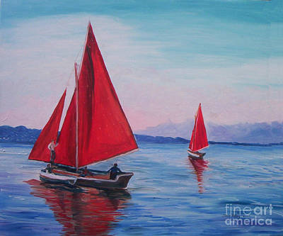 Poster featuring the painting Red Sails On Irish Coast by Julie Brugh Riffey