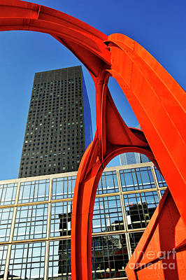 Red Sculpture And Skyscraper At  La Defense Poster by Sami Sarkis