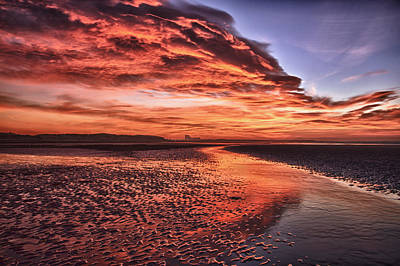 Red Sky Beach Sunrise Poster by Fiona Messenger
