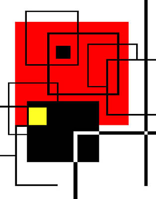 Red Square A La Mondrian Poster by Ginny Schmidt