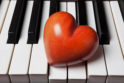 Red Stone Heart On Piano Keys Poster by Garry Gay