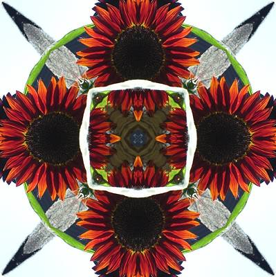 Poster featuring the digital art Red Sunflower And Feather by Trina Stephenson
