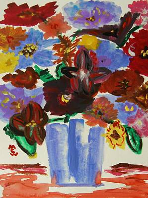 Red Table- Lavender Vase Poster by Mary Carol Williams