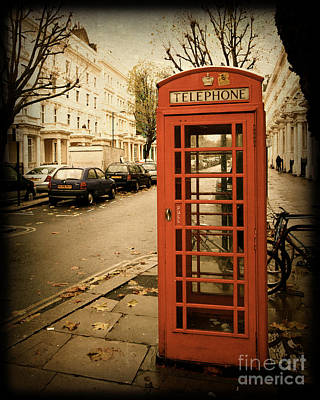 Red Telephone Booth In London England In A Grunge Vintage Border Poster by ELITE IMAGE photography By Chad McDermott