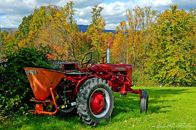 Red Tractor And Green Grass Poster