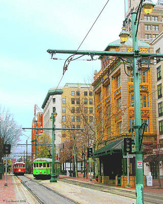 Poster featuring the photograph Red Trolley Green Trolley by Lizi Beard-Ward