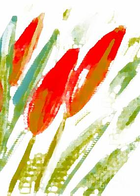Poster featuring the digital art Red Tulips by Barbara Moignard