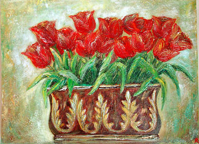 Red Tulips On The Wall Poster