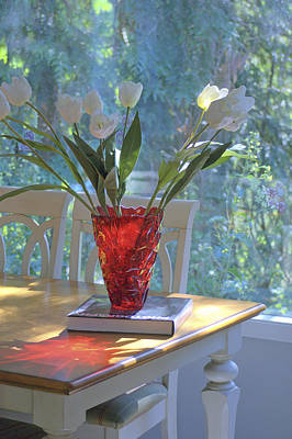 Red Vase With Flowers In Window Poster