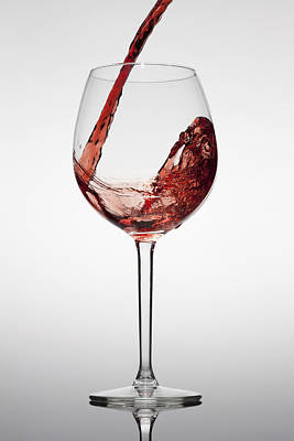 Red Wine Being Poured Into A Glass Poster by Dual Dual