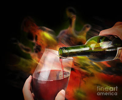 Red Wine Celebration Poster by Angela Waye