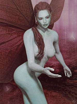 Poster featuring the painting Red Winged Fae by Maynard Ellis