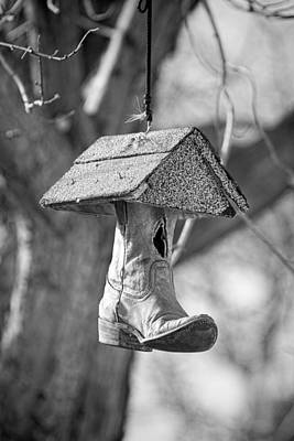 Redneck Cowboy Boot Birdhouse Bw Poster by James BO  Insogna