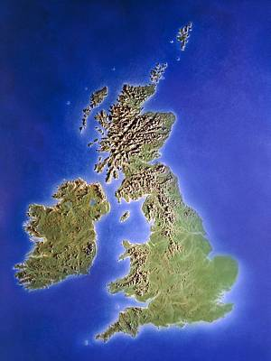 Relief Map Of The United Kingdom And Eire Poster