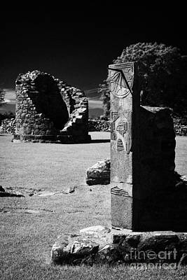 Remains Of The 6th Century Round Tower And Reconstructed Sundial Nendrum County Down Ireland Poster