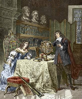 Rene Descartes And Queen Christina Poster by Sheila Terry