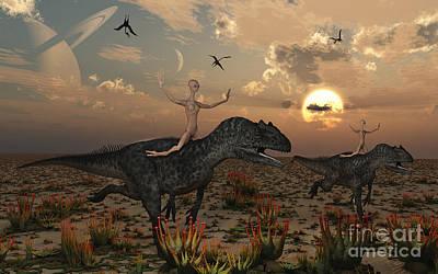 Reptoids Race Allosaurus Dinosaurs Poster by Mark Stevenson