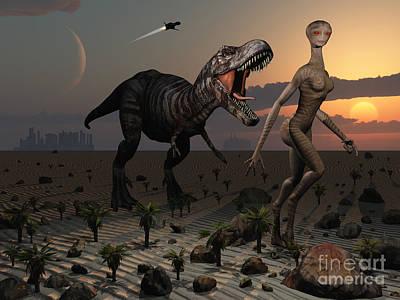 Reptoids Tame Dinosaurs Using Telepathy Poster by Mark Stevenson