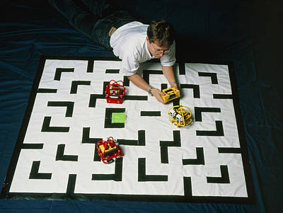 Researcher Testing Lego Robots Playing Pacman Poster