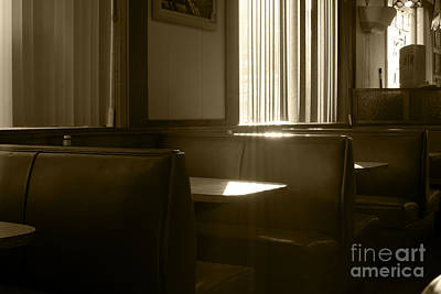 Restaurant Booth With Streaming Sunlight In Sepia Poster