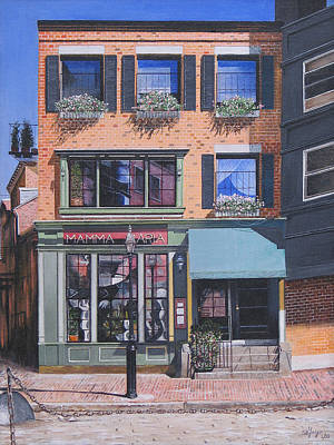 Poster featuring the painting Restaurant Boston North End by Stuart B Yaeger