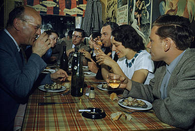 Restaurant Diners Eat Snails, Drink Poster by Justin Locke