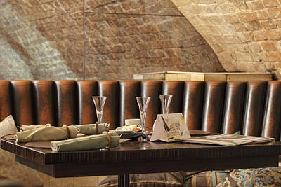 Restaurant Leather Lounge With Three Poster by Magomed Magomedagaev