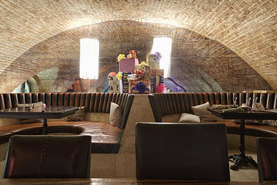 Restaurant Leather Seats With Heap Poster by Magomed Magomedagaev