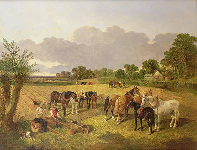 Resting Plough Team Poster by John Frederick Herring Snr