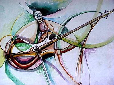Poster featuring the painting Rhythm Of The Strings by Oyoroko Ken ochuko