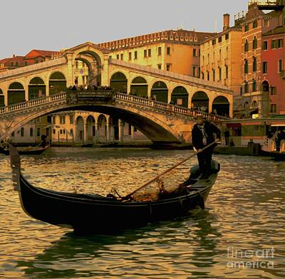 Rialto Bridge Venice Poster by Louise Fahy