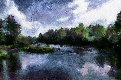 Poster featuring the painting Rideau River View From A Bridge by Mario Carini