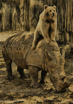 Riding Along- Rhino And Bear Poster