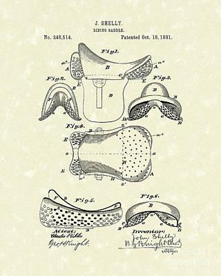 Riding Saddle 1881 Patent Art Poster