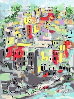 Riomaggiore Italy Moucasso Painting Poster