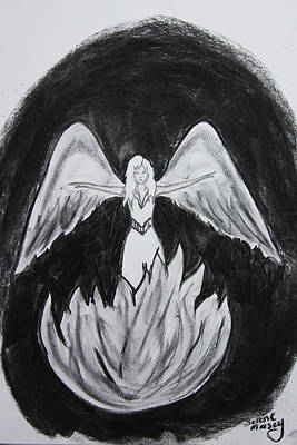 Poster featuring the drawing Rising From The Flames by Serene Maisey