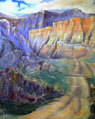 Poster featuring the painting Road To Rainbow Gulch by Gertrude Palmer