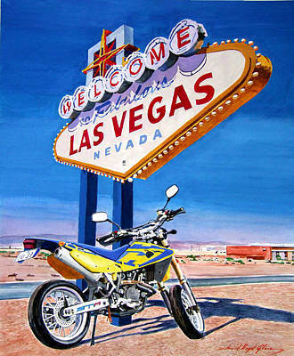 Road Trip To Vegas Poster by David Lloyd Glover