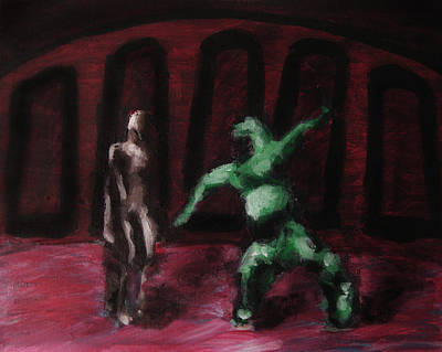 Poster featuring the painting Robot Chewbacca Fight Colosseum In Red Green And Pink by M Zimmerman