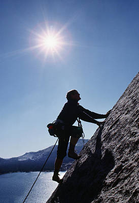 Rock Climber On Polly Dome Above Lake Poster