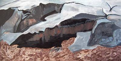 Poster featuring the painting Rock Cut by Krista Ouellette