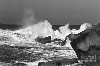 Rocks Breaking The Waves- Bw Poster by Heiko Koehrer-Wagner