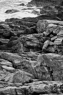 Rocky Coastline - Black And White Poster