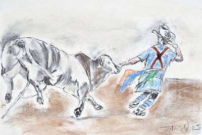 Poster featuring the drawing Rodeo Bullfighter by Jim  Arnold