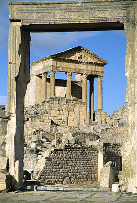 Roman Capitol At Dougga, Tunisia Poster by Sheila Terry