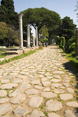 Roman Road, Ostia Antica Poster by Sheila Terry